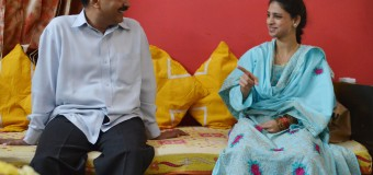 Geeta meet with Arvind kejriwal Geeta a deaf-mute Indian woman who accidentally crossed over to Pakistan more than a decade ago gestures at Delhi CM House  in New Delhi on Tuesday