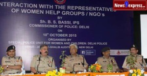 B.S. Bassi comissioner of police addressing a Interaction with the representatives of women help groups/ NGOs in new delhi