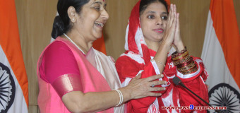 External Affairs minister Sushma Swaraj with Geeta deaf and mute Indian girl arrives for a press conference in new delhi