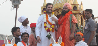 Congress vice president Rahul Gandhi at a flags off procession on the ocassion of Valmiki Jayanti at Red fort in new delhi