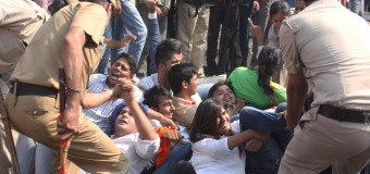 ABVP Students Associations Protest Against Cut the Scholarship in Higher Education Students at Near UGC HQ at ITO New Delhi on today