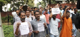 Keral Journals and Social Activits Held Protest against Delhi Police Raid Keral House Canteen  Cow Meat Served,  in Jantar Mantar Keral House New Delhi on Tuesday