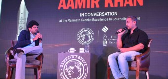 Actor Amir Khan Speak at the 8th Edition of Ramnath Goenka Excellence in Journalism Awards.