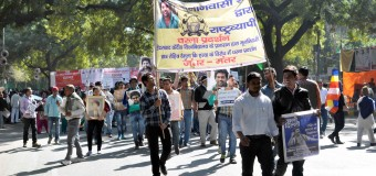 """NEW DELHI: Hundreds of students and faculty members of various universities gathered here on Tuesday and took out a march from Ambedkar Bhawan to Jantar Mantar to condemn the """"institutional killing"""" of 26-year-old scholar of the University of Hyderabad (UoH), Rohith Vemula."""