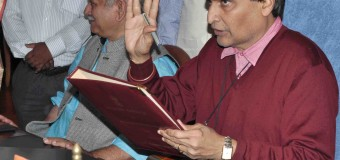 The Union Minister for Railways,  Suresh Prabhakar Prabhu giving finishing touches to the Railway Budget 2016-17, in New Delhi on February 24, 2016. The Minister of State for Railways,  Manoj Sinha, the Chairman, Railway Board,  A.K. Mital and other Board Members are also seen
