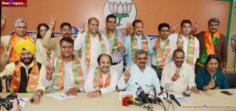 BJP President Mr. Satish Upadhyay address a Press Conference related to Civic bye Elections 13 Candidates are present and launch his Manifesto at BJP office 14 Pant Marg New Delhi