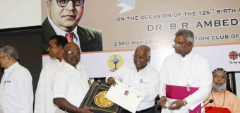 Catholic Bishop Conference of India Office for Dali and Backward classes Organised program, Suprme Court Former Chief Judge Balakrishnan Presenting the Award to Dalit Christians an 125th Birth Anniversary of Baba BR. Ambedkar at Constitution Club New Delhi on Monday